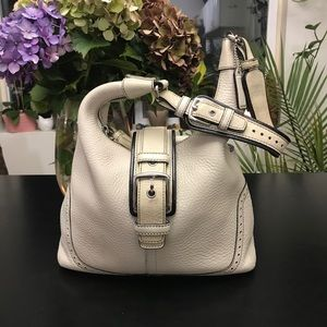 Coach cream colored leather handbag